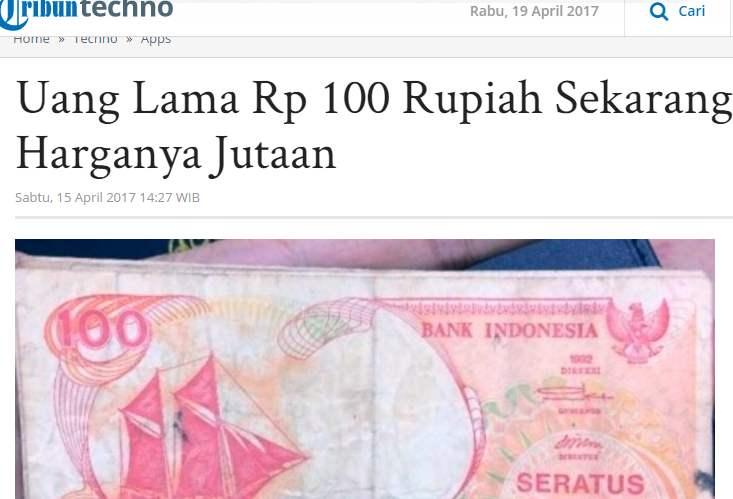 Harga Uang 100 Lama